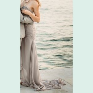 Gray Taupe Beaded Sweetheart Dress Gown with Train